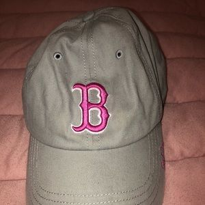 '47 pink and gray women's Red Sox ball cap